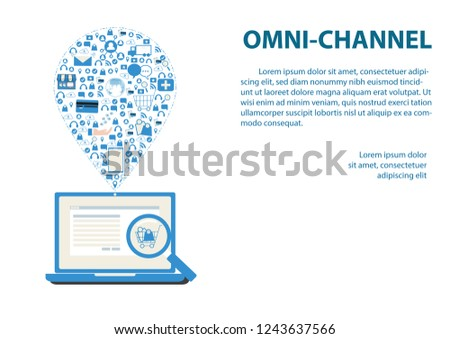 Internet of things conceptual. Omni Channels on white background. Online Shopping on website with laptop and icon of step after shopping, payment, notify, shipping and big data analysis