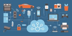 Internet of things, devices and connectivity concepts on a network, cloud at center