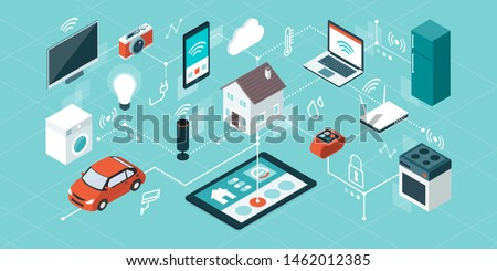 Internet of things, domotics and smart home innovations, isometric network of connected devices and appliances ストックフォト ©