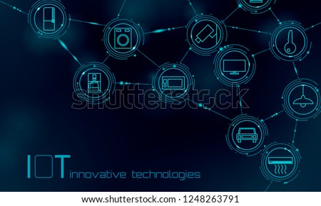 Internet of things icon innovation technology concept. Smart city wireless communication network IOT ICT. Home intelligent system automation Industry 4.0 modern AI computer online vector illustration