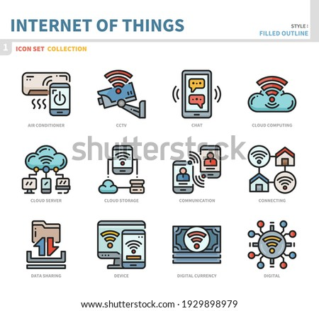 internet of things icon set,filled outline style,vector and illustration