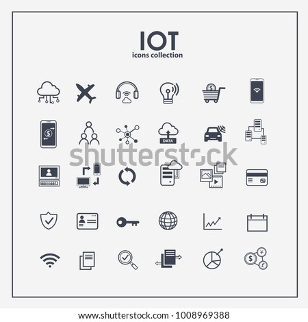 Internet of things icon set. Symbols for IOT with flat outline design. EPS10.