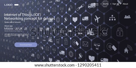 Internet of things (IoT) and networking concept for connected devices. Spider web of network connections with on a futuristic gray background ストックフォト ©
