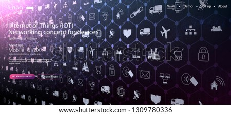 Internet of things (IoT) and networking concept for connected devices. Spider web of network connections with on a futuristic red background EPS10