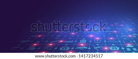 Internet of things (IoT) and networking concept for connected devices. Spider web of network connections with on a futuristic blue background. Wireless connections of information technology. Vector
