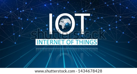 Internet of things (IoT) and networking concept for connected devices. Spider web of network connections with on a futuristic blue background. Innovation sign. Digital design concept. Vector Stockfoto ©
