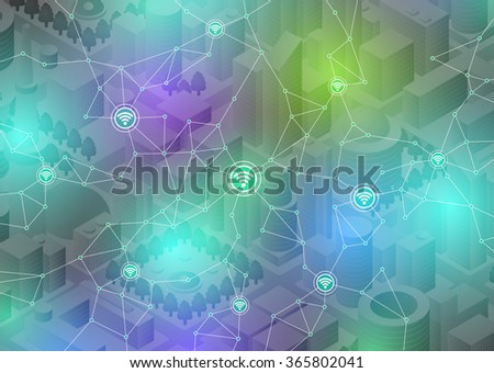 Internet of things(IoT), city and buildings, sensor network, abstract image vector illustration