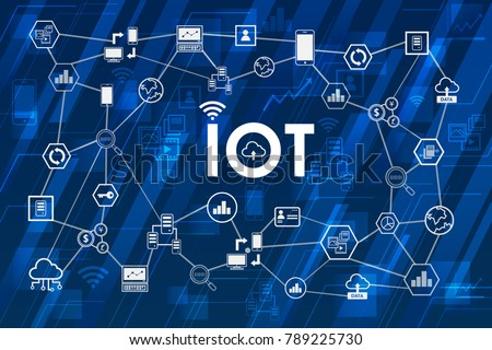 Internet of things (IoT) concept. symbol connected with icons of typical IoT. Intelligent pc, car, syc, cloud, smartphone, machine. Smart digital concept.