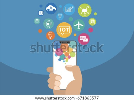 Internet of things / IOT concept. Vector illustration of hand holding modern bezel-free / frameless smartphone with icons