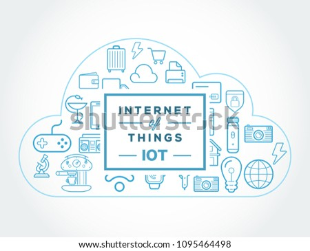 Internet of things (IOT). Devices and connectivity concepts. Cloud center.  Stockfoto ©