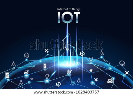 Internet of things (IOT), devices and connectivity concepts on a network, cloud at center. digital circuit board above the planet Earth.