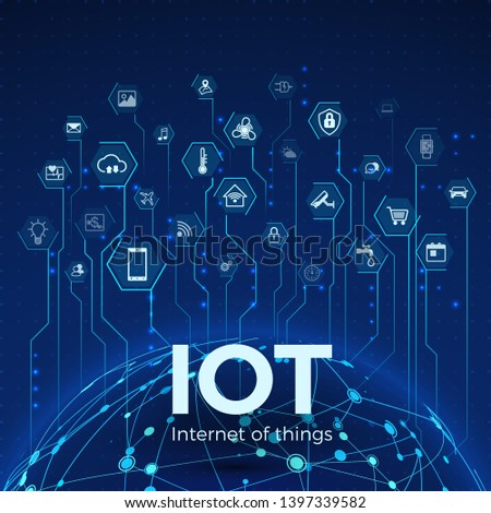 Internet of things. IOT icons concept. Global network connection. Monitoring and control smart systems. Vector illustration