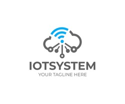 Internet of things (IOT), logo template. Network cloud and wi-fi signal, vector design. Cloud technology, logotype