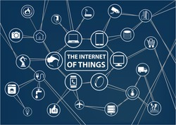 Internet of things (IoT) technology background. Connected devices like smart phone, smart watch, sensors. Network of devices with line and intersections.