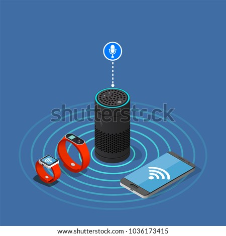 Internet of things isometric composition on blue background with assistant speaker, smartphone, watch and tracker vector illustration