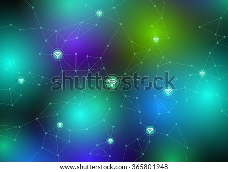 Internet of things, sensor network, abstract image vector illustration