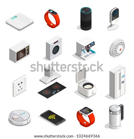 Internet of things set of isometric icons with wireless connect, mobile device, household appliances isolated vector illustration