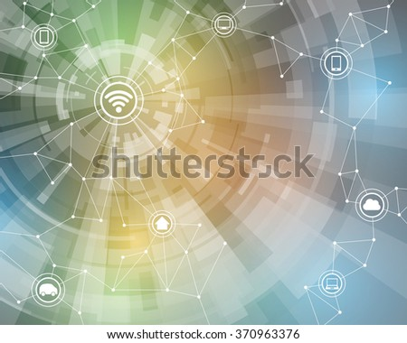 Internet of things, wireless sensor network, abstract image, vector illustration