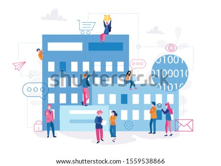 Internet of thinks in global offices, smart city. management of IoT devices,  Vector illustration,  Design and development of a comprehensive Business Intelligence solution. construction industry.