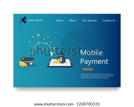 internet online mobile payment service concept. business money purchasing. shopping transaction method. electronic wallet digital fund. send transfer app technology. flat style web landing page