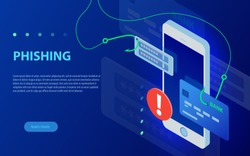 Internet phishing, hacked login and password. Phishing via internet isometric vector concept illustration. Hacking credit card or personal information website. Cyber banking account attack.