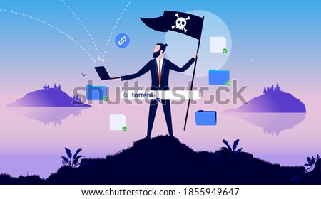 Internet pirate - businessman with pirate flag holding laptop and downloading files and software. Online piracy concept. Vector illustration. Сток-фото ©