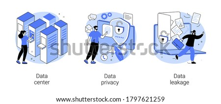 Internet privacy abstract concept vector illustration set. Data center, data privacy and leakage, computer system, remote storage, database networking, security software, hacker abstract metaphor. Foto stock ©