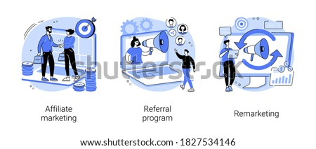 Internet promotion strategy abstract concept vector illustration set. Affiliate marketing, referral program, remarketing, online sales management, targeted advertising, loyalty abstract metaphor.