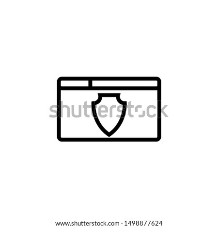 Internet protection symbol, data protection shield logo, information security flat icon, protected connection sign, online security concept, vector illustration design isolated