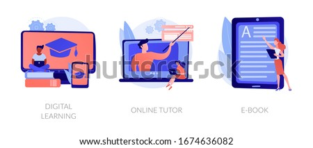Internet school graduation, professional teacher service, electronic book device icons set. Digital learning, online tutor, e-Book metaphors. Vector isolated concept metaphor illustrations