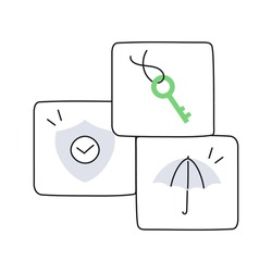 Internet secure icon set. Key, shield and umbrella. Protection, authentification, access. Thin line vector illustration.