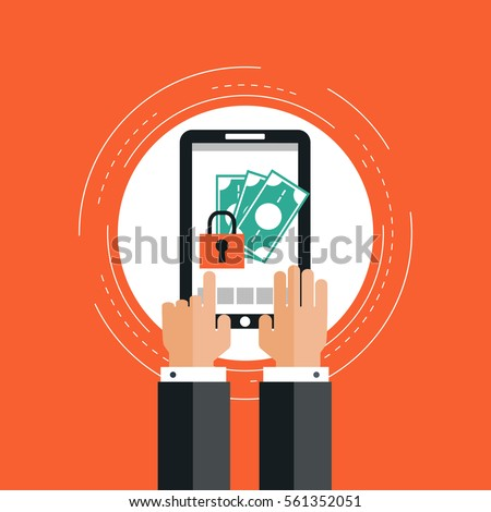 Internet security and secure money transfer flat vector illustration design. E-commerce,  e-banking, wire transfers, m-banking, money management business concepts. Design for web banners and apps