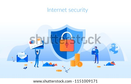 Internet security Concept for web page, banner, presentation, social media, documents, cards, posters. Vector illustration Data security, Computer security, App programming technology and software .