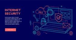 Internet Security Concept for web page, banner, presentation. Vector illustration