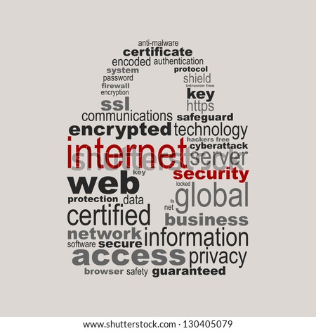 Internet security concept made with words drawing a padlock - easy colors change by selecting same fill color