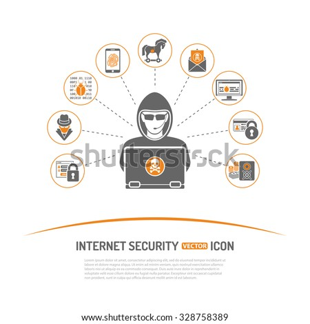 Internet Security Concept with Icon Set for Flyer, Poster, Web Site Like Hacker, Virus, Spam and Safe.