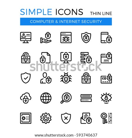 Internet security, cybersecurity, computer protection vector thin line icons set. 32x32 px. Line graphic design for website web design, mobile app, infographic. Pixel perfect vector outline icons set