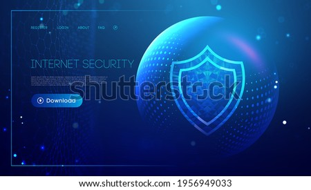 Internet security for computer, vpn safety cyber shield concept. Data security illustration protection shield. Privacy secure blue technology background.