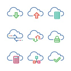 Internet security icons. Cloud computing icon set. This icon set includes file sharing, data storage, internet security, and reliable network service.