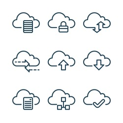 Internet security icons. Cloud computing line icons.