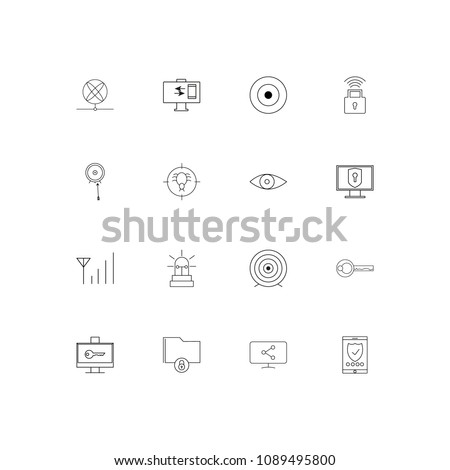 Internet Security linear thin icons set. Outlined simple vector icons #1089495800