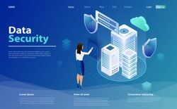 Internet security shield business concept. Business woman applies finger to fingerprint scanner to access database, data protection concept. Templates cybersecurity. Data security isometric concept