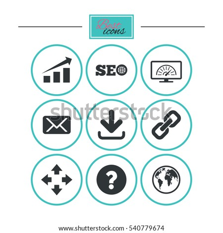 Internet, seo icons. Bandwidth speed, download arrow and mail signs. Hyperlink, monitoring symbols. Round flat buttons with icons. Vector