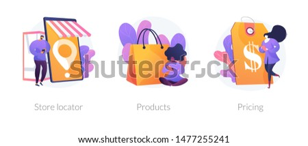 Internet shop web icons set. Goods ordering, price tag cliparts pack. Consumerism and marketing. Store locator, product, pricing metaphors. Vector isolated concept metaphor illustrations