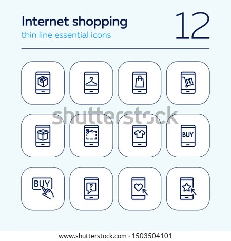 Internet shopping icon set. Line icons collection on white background. Coupon, smartphone, clothing. Sale concept. Can be used for topics like retail, consumerism, interface