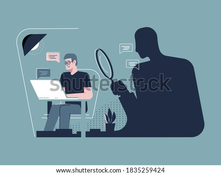 Internet stalking illustration concept. Person sitting on a computer in his office while a stalker is watching him from the shadow without being noticed. Vector. Stock photo ©