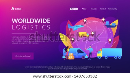 Internet store goods international shipment. Global transportation system, worldwide logistics and distribution, worldwide delivery service concept. Website homepage landing web page template.