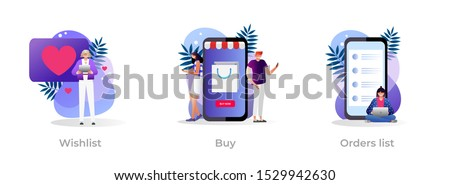 Internet store website interface. Purchases ordering, online payment. E-commerce clipart set. Wishlist, buy, my orders list metaphors. Vector isolated concept metaphor illustrations