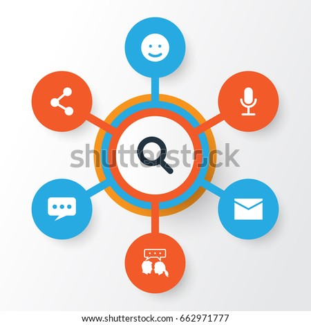 Internet Talk Icons Set. Collection Of Conversation, Video Chat, Publish And Other Talk Icon Elements. Also Includes Symbols Such As Network, Search, Talking.