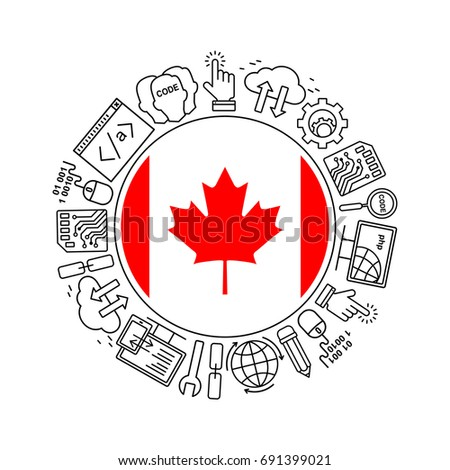 Internet technology and programming in Canada round shape background with linear icons set. Html, php and code circle pattern with line style icons with Canadian flag.